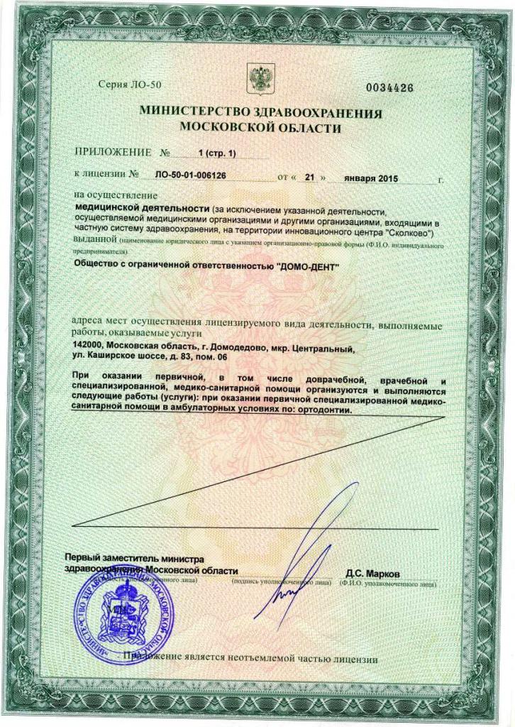 лицензия на осуществление мед. деятельности клиники ДомоденТ-Элит (приложение)